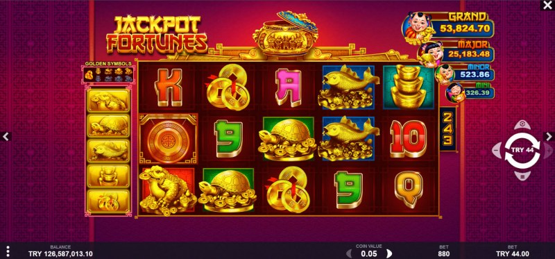 Jackpot Fortunes :: Main Game Board