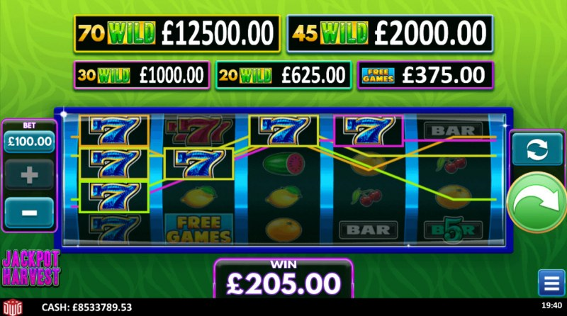 Jackpot Harvest :: A four of a kind win