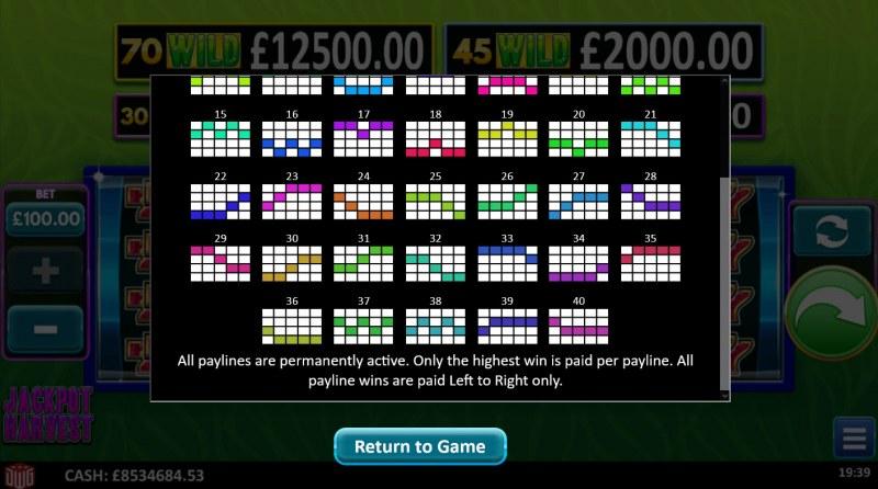 Jackpot Harvest :: Paylines