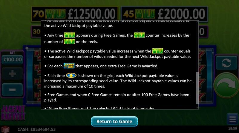 Jackpot Harvest :: Feature Rules