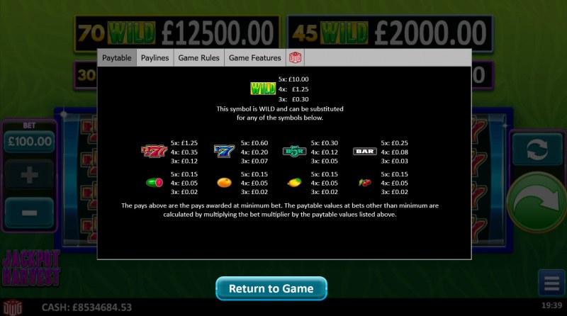 Jackpot Harvest :: Paytable