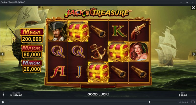 Jack's Treasure :: Scatter symbols triggers the bonus pick feature