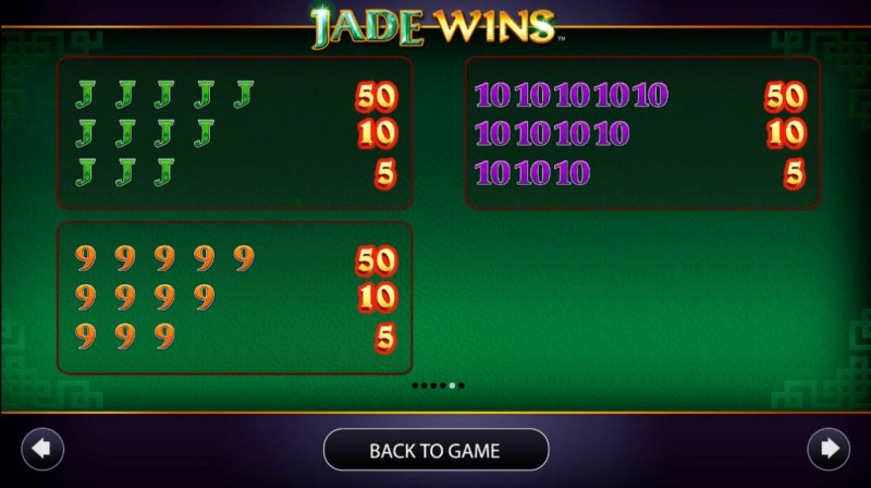 Jade Wins :: Paytable - Low Value Symbols