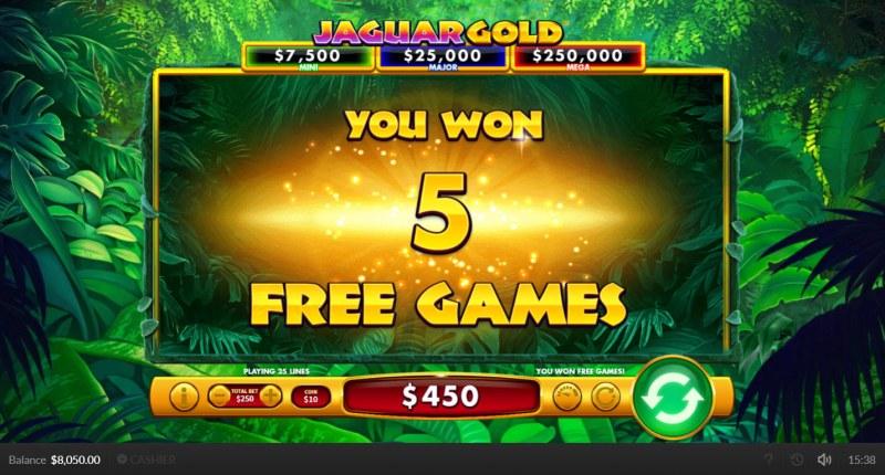 Jaguar Gold :: 5 free spins awarded