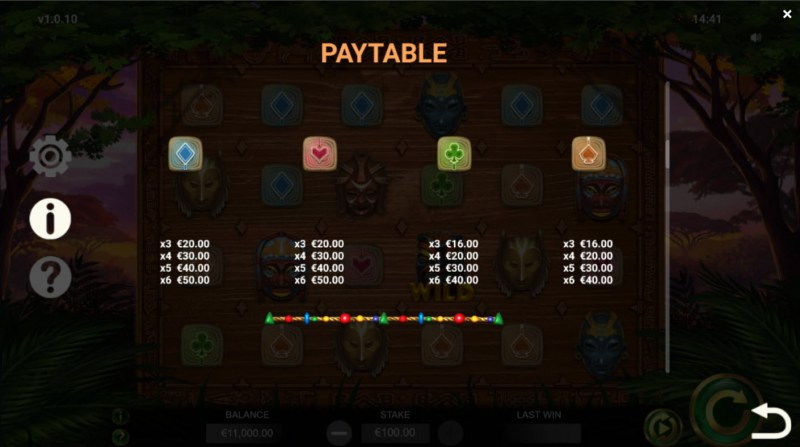 Jambo Cash :: Paytable - Low Value Symbols