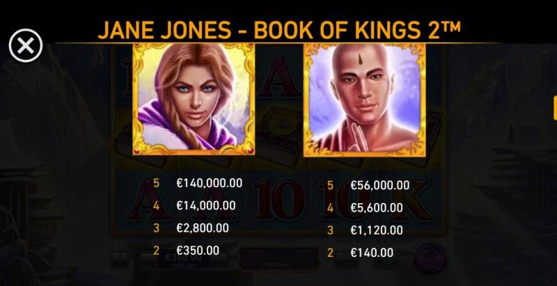 Jane Jones Book of Kings 2 :: Paytable - High Value Symbols