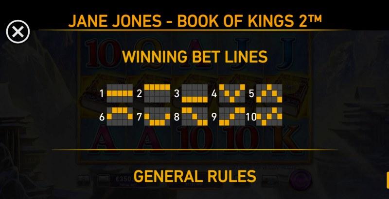 Jane Jones Book of Kings 2 :: Paylines 1-10