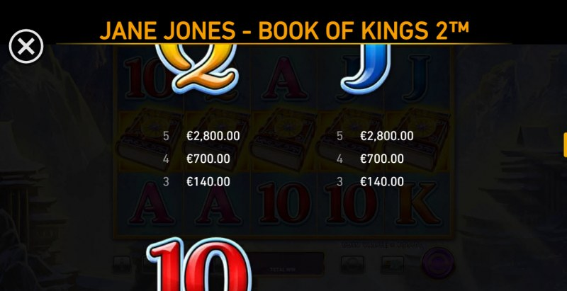 Jane Jones Book of Kings 2 :: Paytable - Low Value Symbols