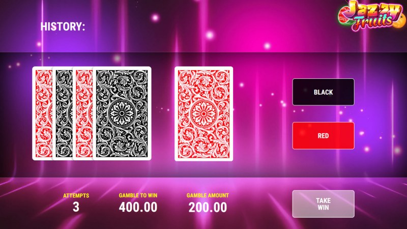 Jazzy Fruits :: Black or Red Gamble Feature