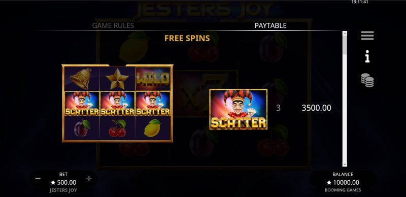Jesters Joy :: Free Spin Feature Rules