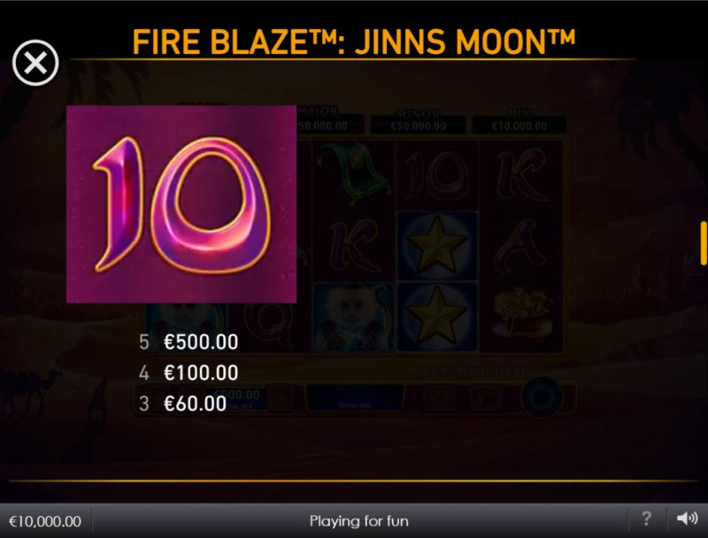 Jinns Moon :: Paytable - Low Value Symbols