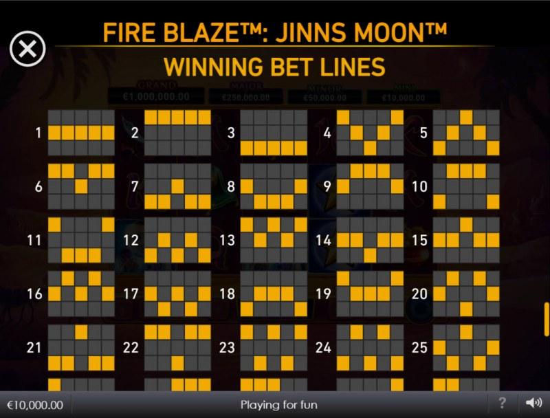 Jinns Moon :: Paylines 1-25
