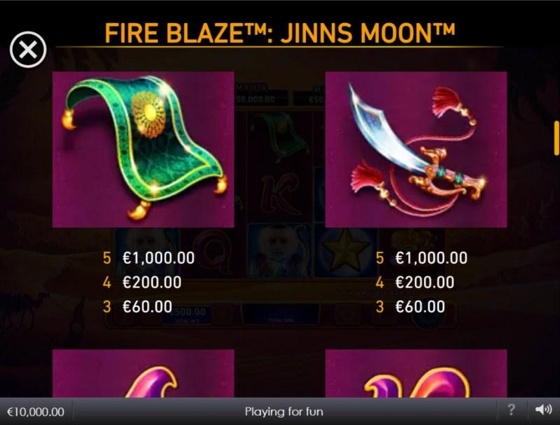 Jinns Moon :: Paytable - Medium Value Symbols