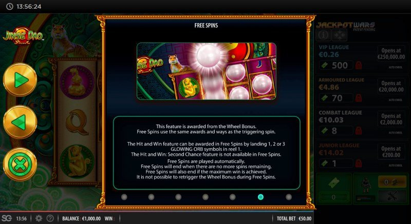 Jinse Dao Tiger :: Free Spin Feature Rules