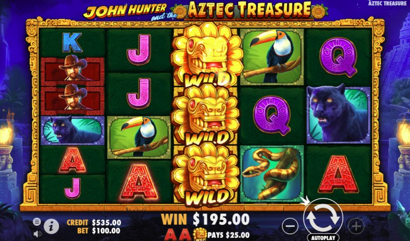 John Hunter and the Aztec Treasure :: Stacked wild symbols triggers multiple winning combinations