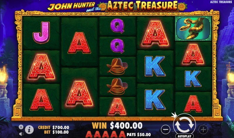 John Hunter and the Aztec Treasure :: Multiple winning combinations leads to a big win