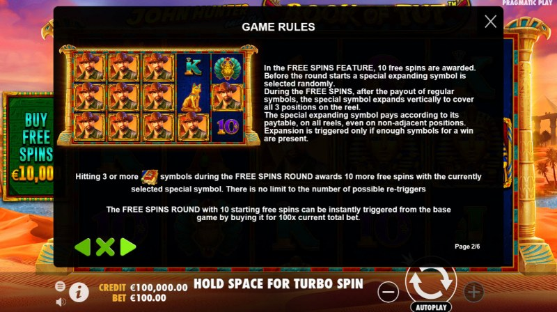 John Hunter and the Book of Tut :: Free Spins Rules