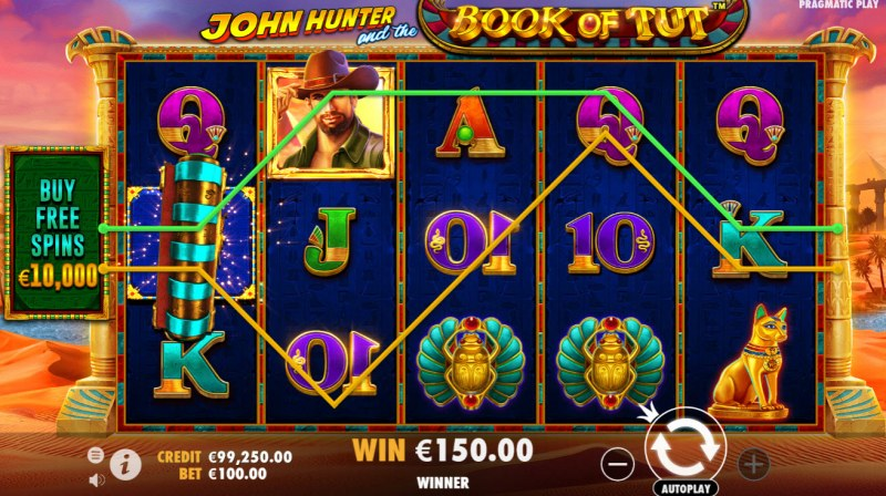 John Hunter and the Book of Tut :: Multiple winning paylines