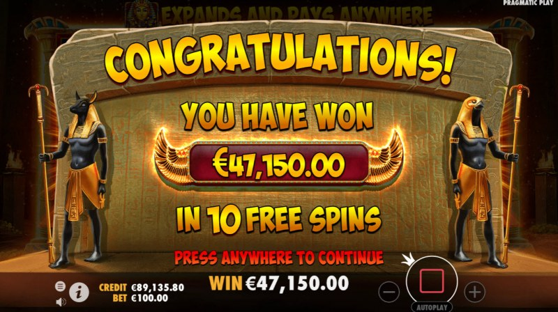John Hunter and the Book of Tut :: Total free spins payout