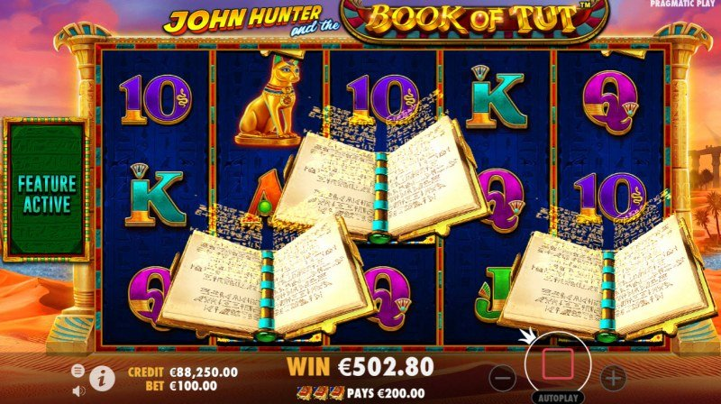 John Hunter and the Book of Tut :: Scatter symbols triggers the free spins feature