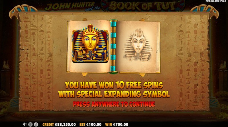 John Hunter and the Book of Tut :: 10 Free Spins Awarded