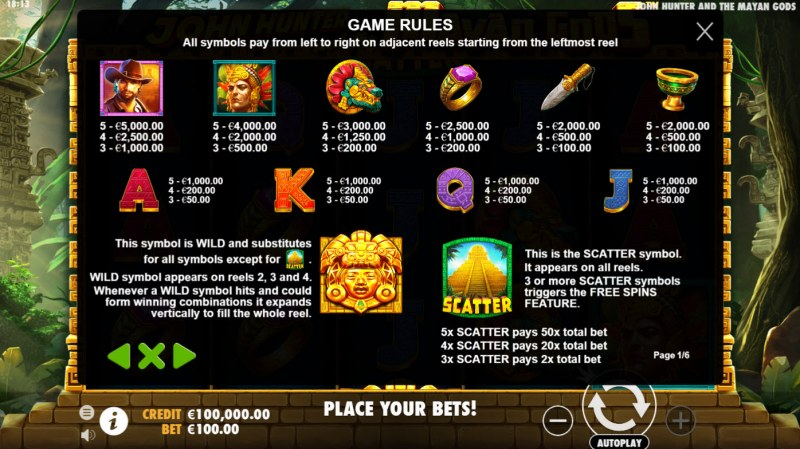 John Hunter and the Mayan Gods :: Paytable