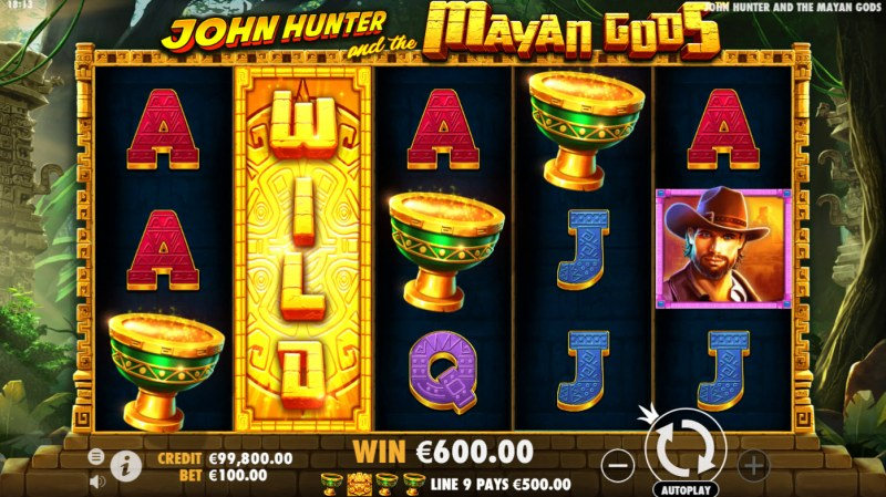 John Hunter and the Mayan Gods :: A four of a kind win