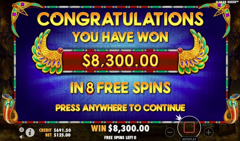 John Hunter & the Tomb of the Scarab Queen :: Total free spins payout