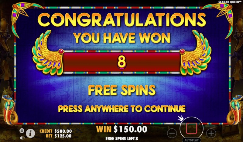 John Hunter & the Tomb of the Scarab Queen :: 8 Free Spins Awarded