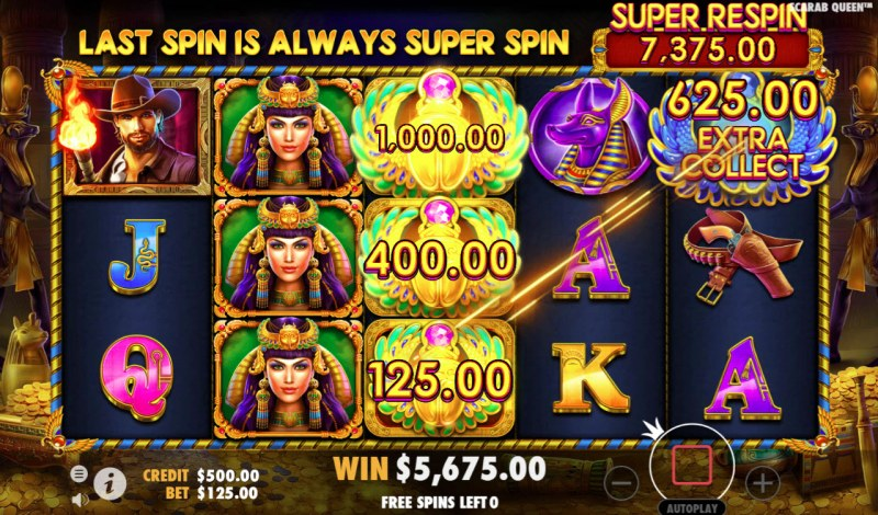 John Hunter & the Tomb of the Scarab Queen :: Money Collect feature adds money to the Super Respin pot during the free spins feature