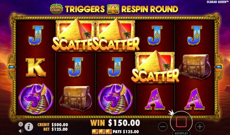 John Hunter & the Tomb of the Scarab Queen :: Scatter symbols triggers the free spins feature