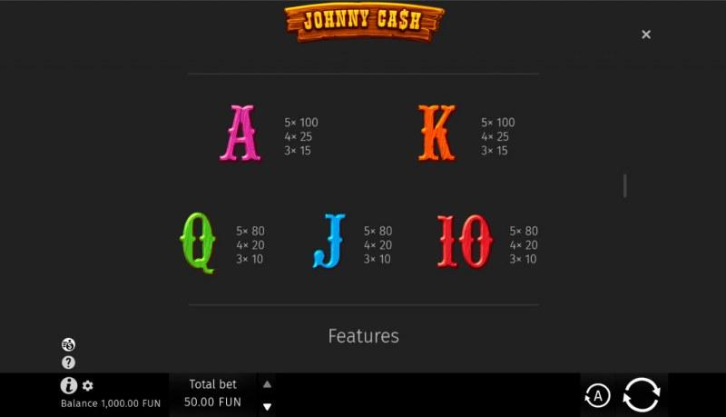 Johnny Cash :: Paytable - Low Value Symbols