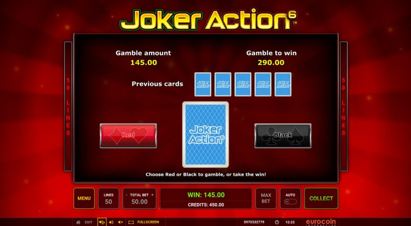 Joker Action 6 :: Red or Black Gamble Feature