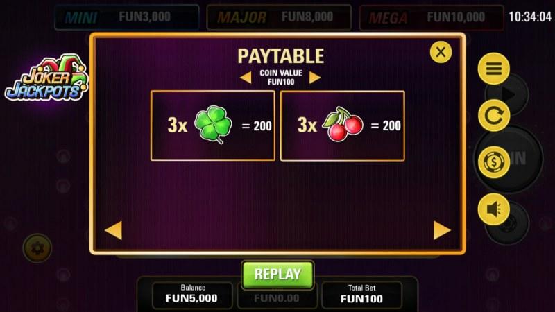 Joker Jackpots :: Paytable - Low Value Symbols