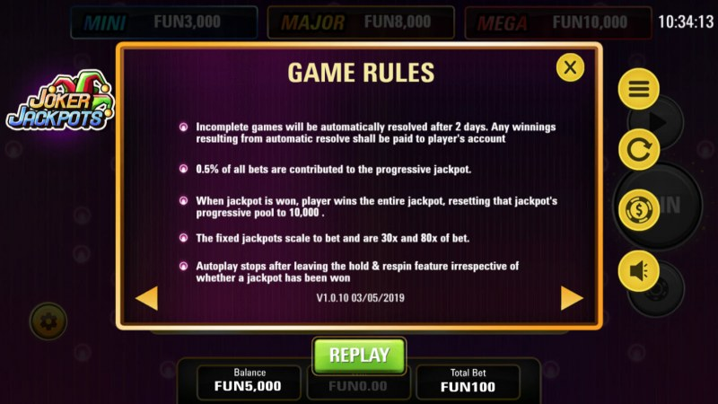 Joker Jackpots :: General Game Rules