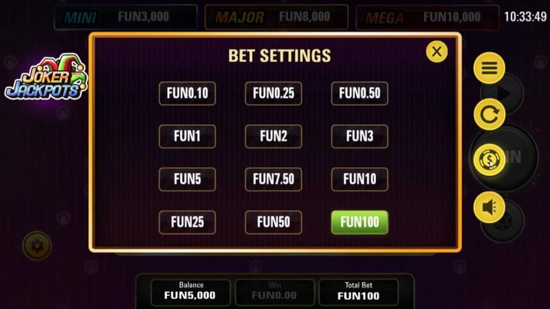 Joker Jackpots :: Bet Settings