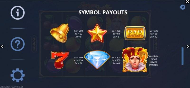 Joker Joker :: Paytable - Low Value Symbols