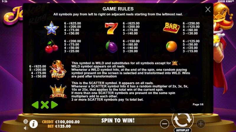 Joker King :: Paytable