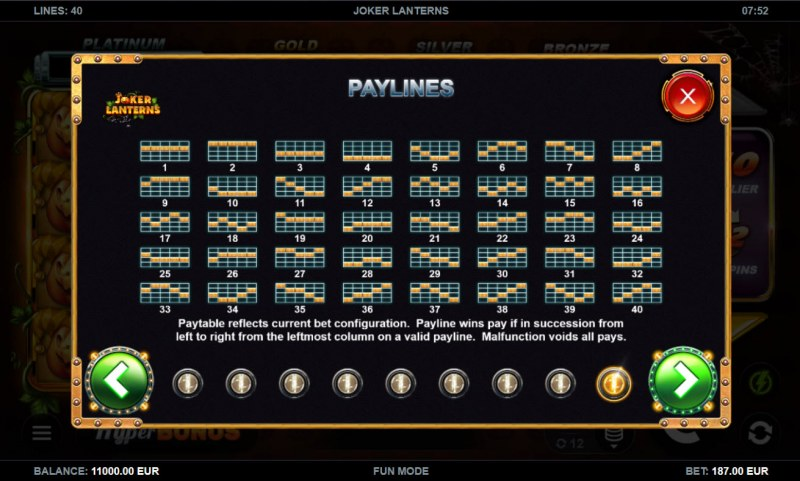 Joker Lanterns :: Paylines 1-40