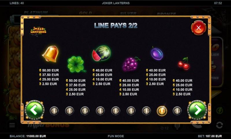 Joker Lanterns :: Paytable - Low Value Symbols