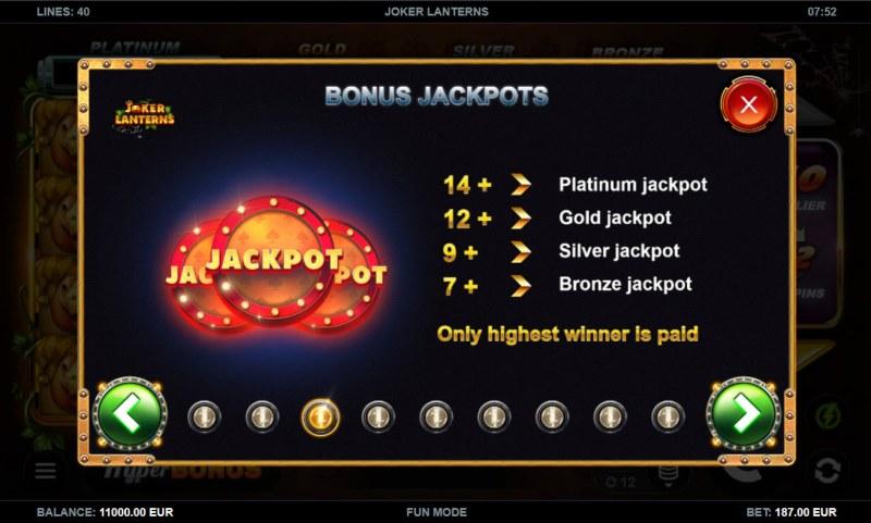 Joker Lanterns :: Jackpot Rules