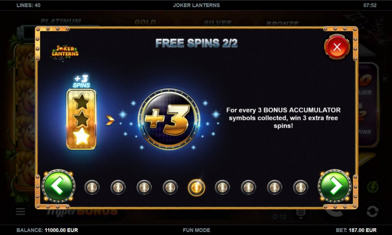 Joker Lanterns :: Free Spin Feature Rules