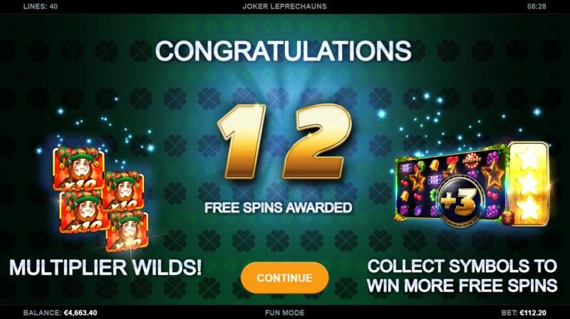 Joker Leprechauns :: 12 free spins awarded