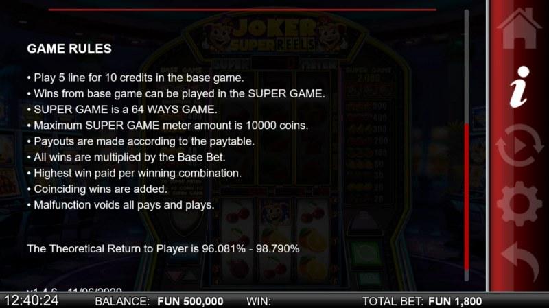 Joker Super Reels :: General Game Rules