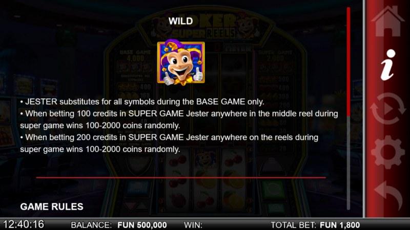 Joker Super Reels :: Wild Symbol Rules