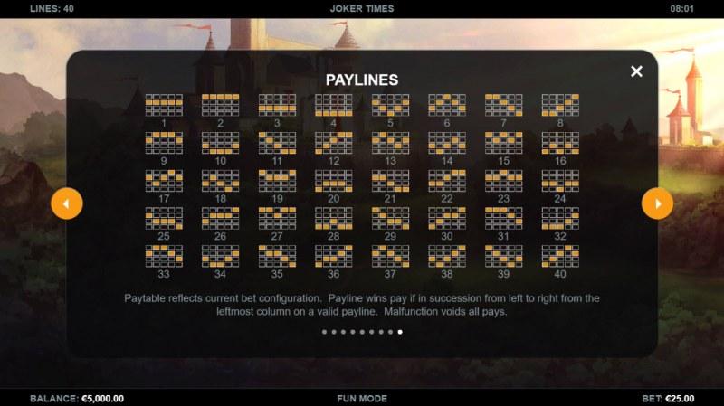 Joker Times :: Paylines 1-40