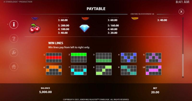 Joker Wild Blaster :: Paylines 1-10