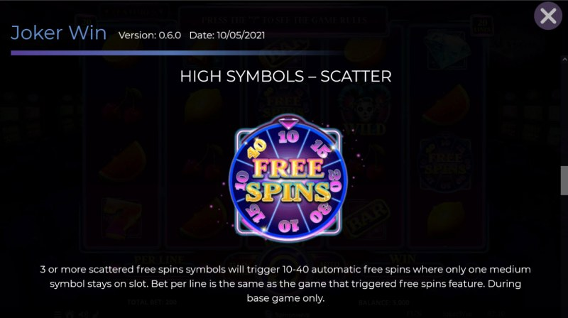 Joker Win :: Scatter Symbol Rules