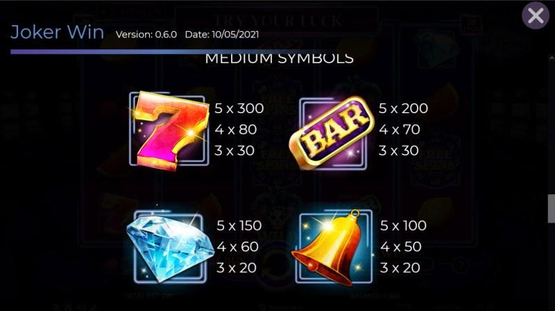 Joker Win :: Paytable - Medium Value Symbols