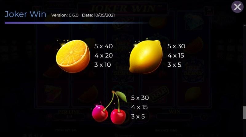 Joker Win :: Paytable - Low Value Symbols